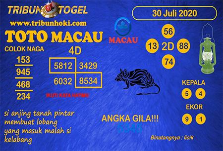 Prediksi Tribun Togel Toto Macau Kamis 30 Juli 2020