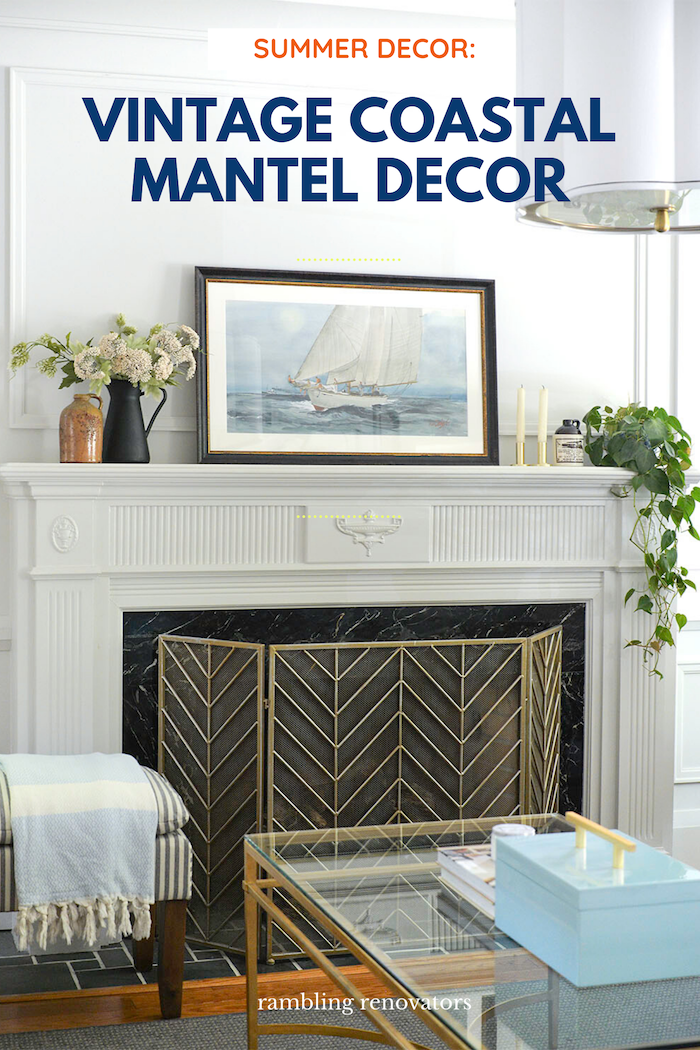 summer mantel decor, coastal mantel, coastal mantle, summer mantle