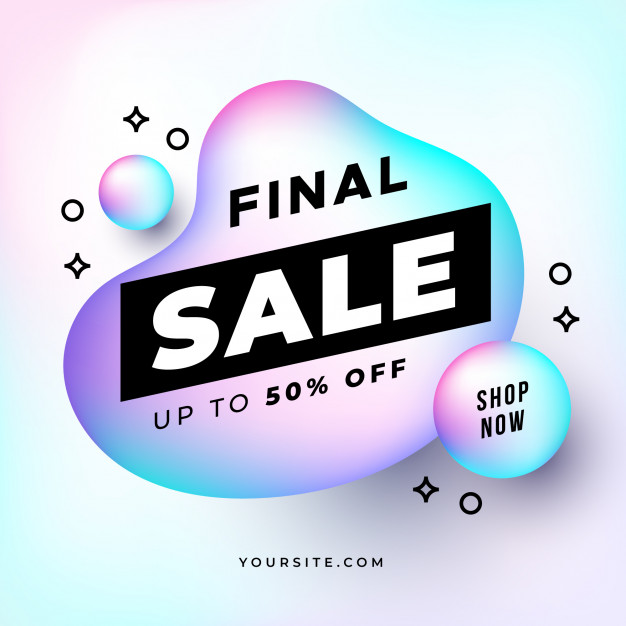Final sale banner with holographic shapes Free Vector