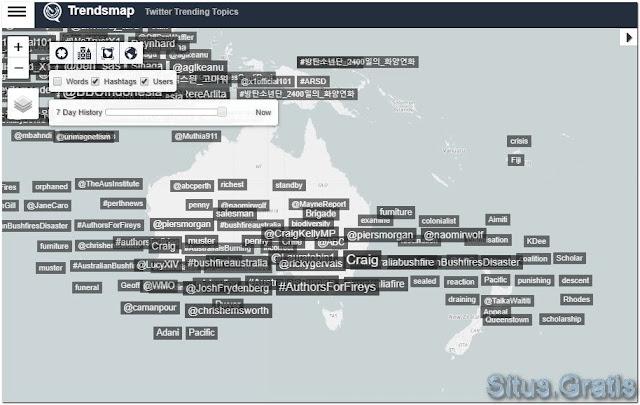 melihat topik yang sedang tren secara global, nasional, dan di kota Anda pada peta