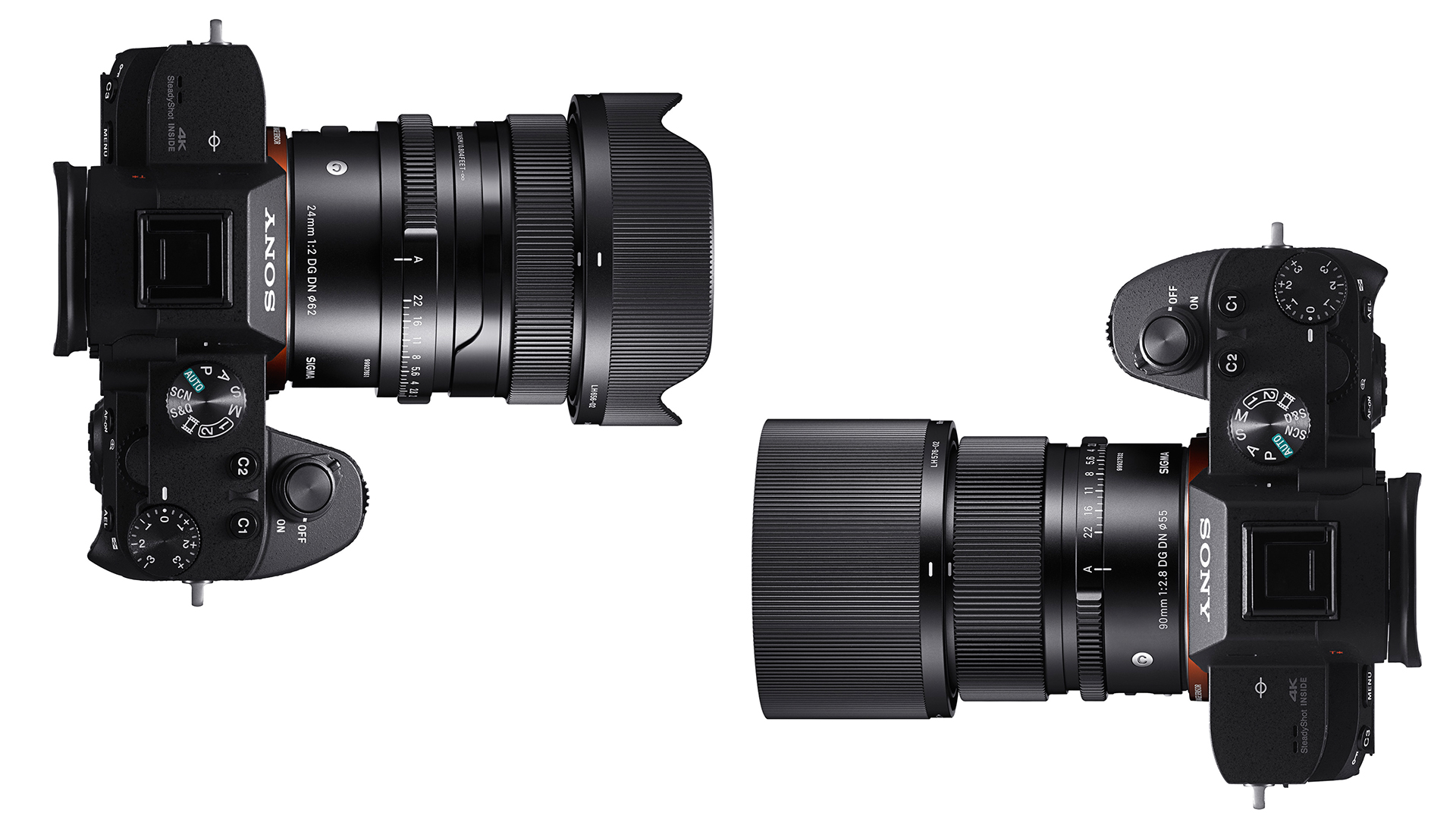 Объективы Sigma 24mm f/2 и 90mm f/2.8 установлены на камеры Sony