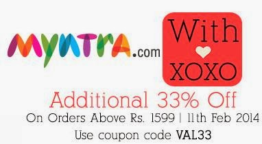 Valentine Offer: Get Flat 33% Additional Off on Min Cart Value of Rs.1599 @ Myntra (Valid till 11th Feb'14)