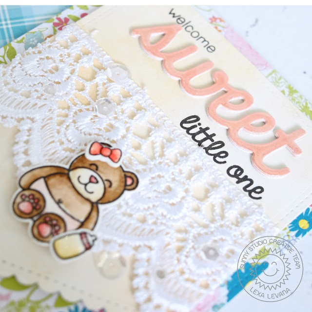 Sunny Studio Stamps: Baby Bear Girl Card by Lexa Levana (using Fishtail Banners II & Sweet Word die)