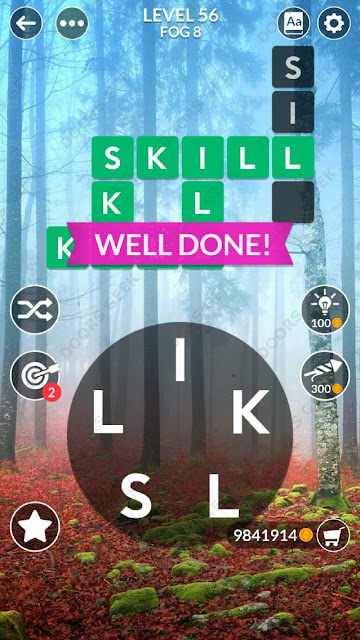 Wordscapes Level 56 answers, cheats, solution for android and ios devices.