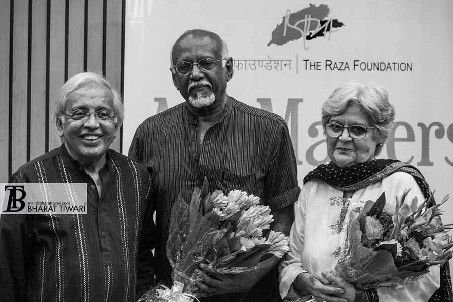Ashok Vajpeyi, Sadanand Menon and Salima Hashmi — Photo (c) Bharat Tiwari