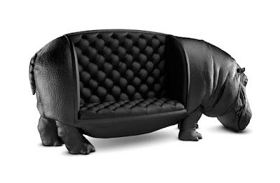 Diseño de sillón con forma de hipopótamo