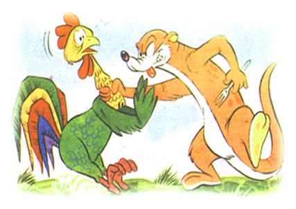 fabula de la comadreja y el gallo