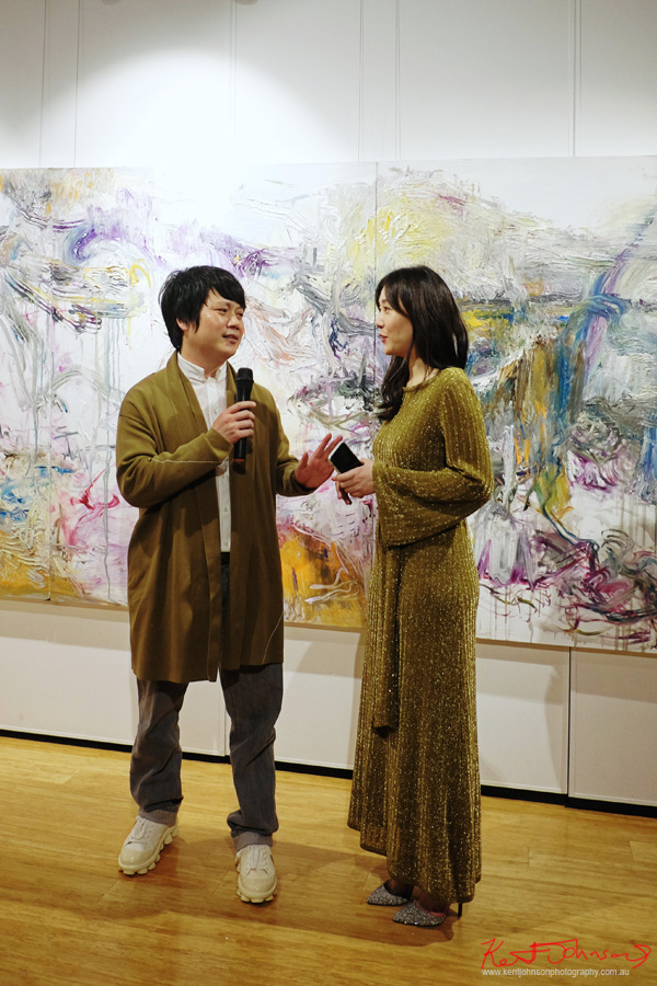 Artist He Zige and curator Vivien Jiang - Beyond the Light - Chinese Artist He Zige - Photos By Kent Johnson for Street Fashion Sydney.