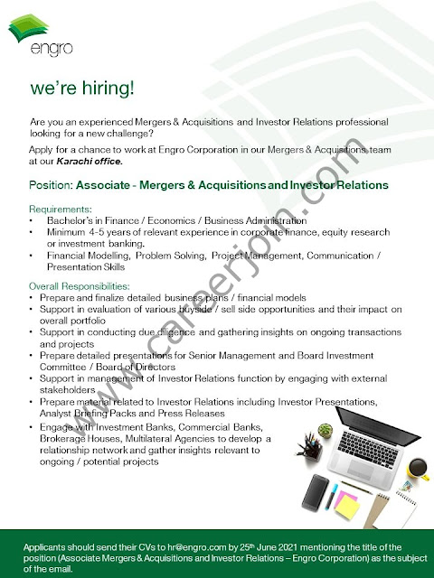 Engro Corporation Jobs Associate Merger & Acquisitions & Investor Relations