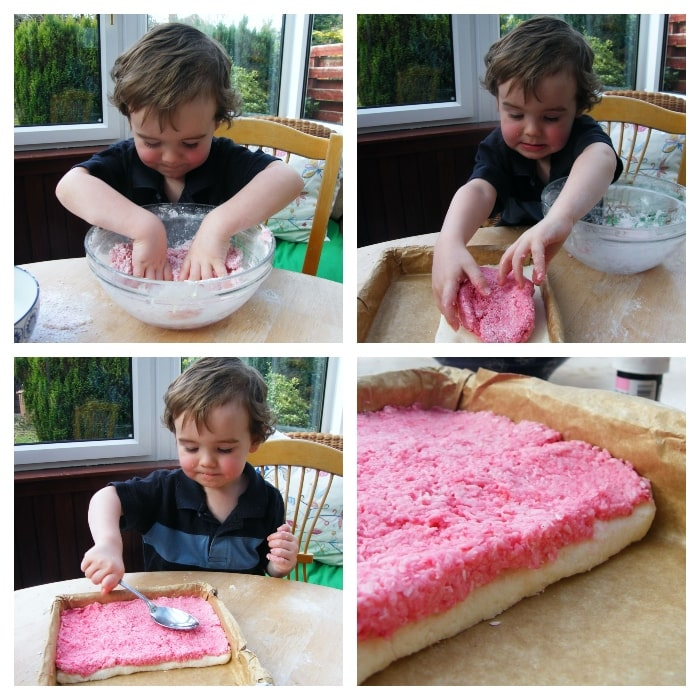 Making Coconut Ice - Step 5 - add the pink layer