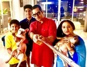 Sudhanshu Pandey with her wife and son