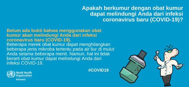 Apakah berkumur dengan obat kumur dapat melindungi atau mencegah seseorang dari infeksi coronavirus disease COVID-19