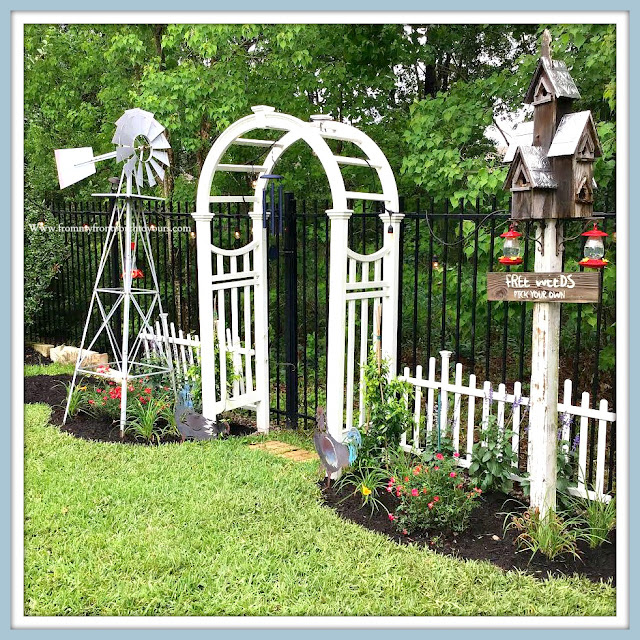Backyard Garden-DIY-Picket Fence-Windmill-Roses-Salvia-From My Front Porch To Yours