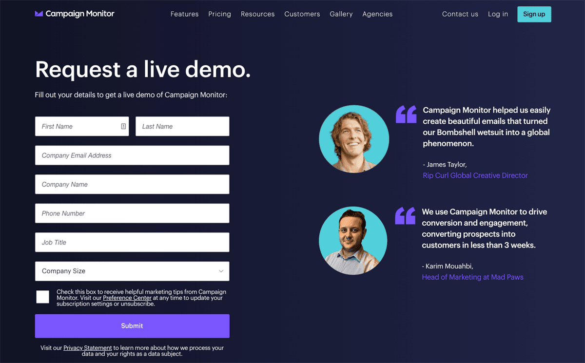 Screengrab of Campaign Monitor's dark mode design for its demo landing page