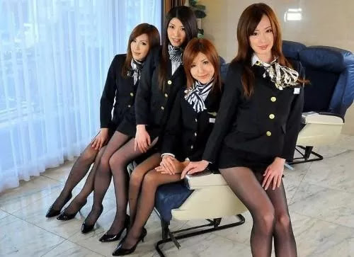 Japanese stewardesses make you feel comfortable on a plane