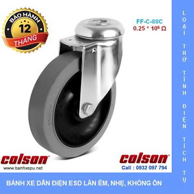 Bánh xe đẩy cao su chống tĩnh điện Colson Mỹ lắp lỗ giữa phi 125 www.banhxeday.xyz