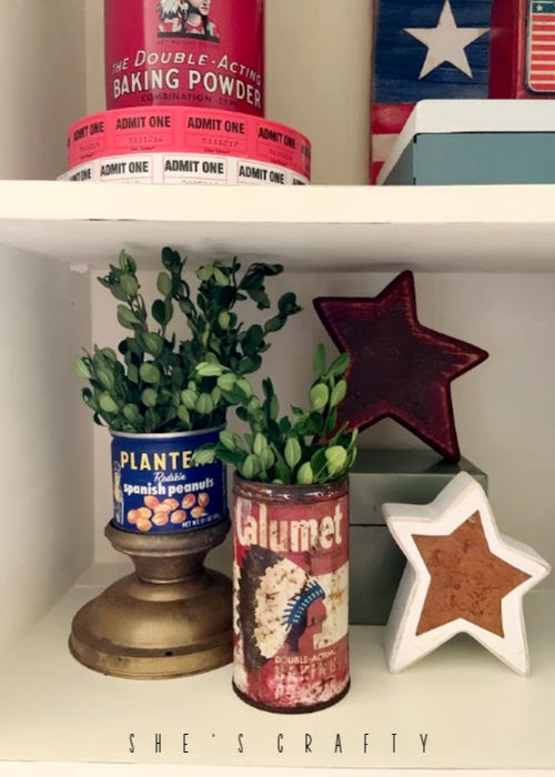 Vintage Farmhouse Home decor - vintage tin cans, stars, ticket rolls