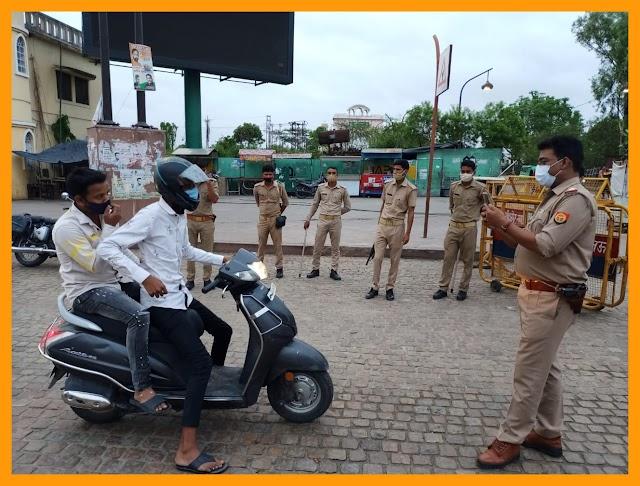 लखनऊ - पुलिस ने कराया लॉकडाउन का सख्ती से पालन