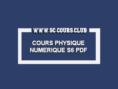 COURS PHYSIQUE NUMERIQUE S6 PDF