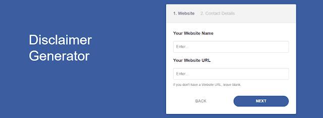 Isikan Nama Website dan Alamat Website yang akan Dipasangi Halaman Disclaimer
