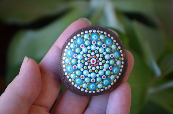 Succulent inspired dot mandala prayer stone