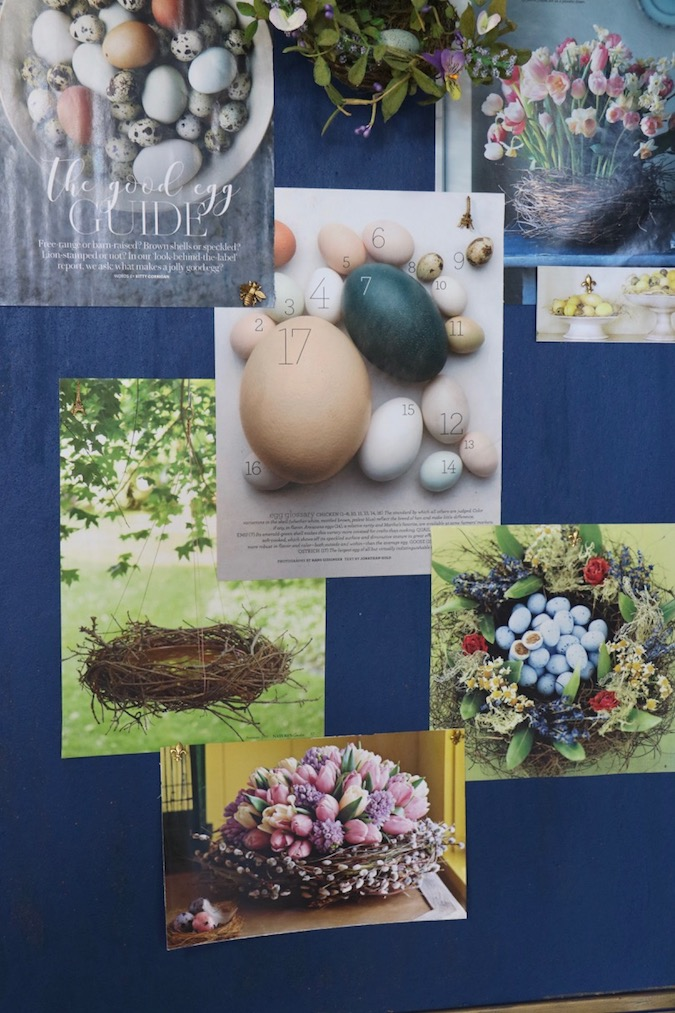 Layering photos on a bulletin board creates an overall connected design from collected clippings