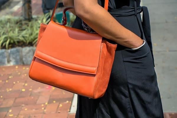 orange leather satchel pocketbook