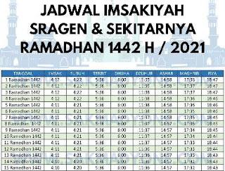 jadwal imsakiyah sragen ramadhan 2021