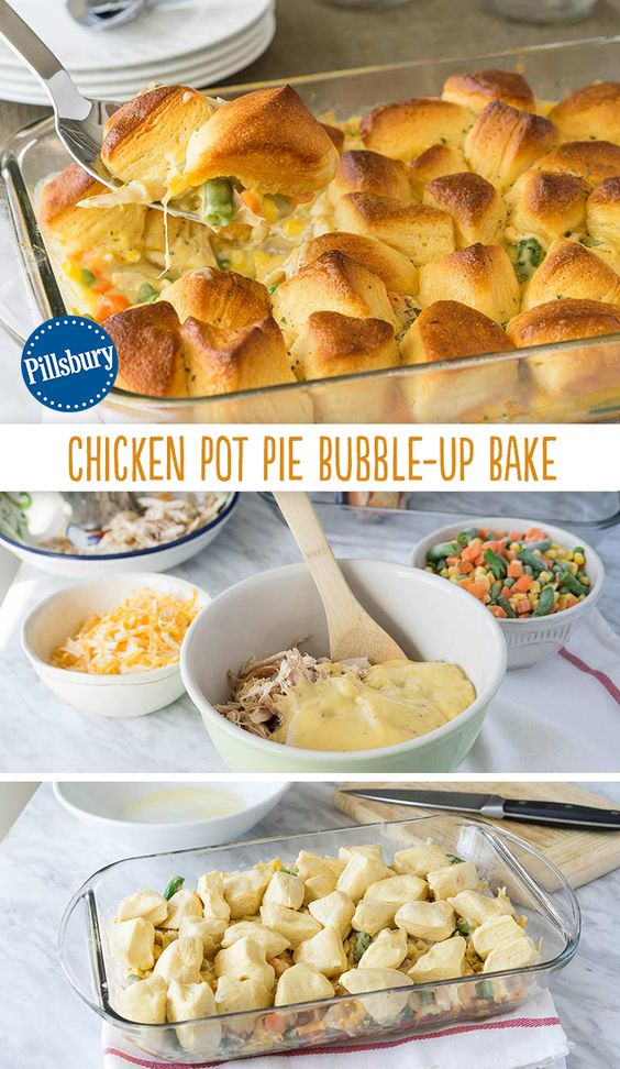 Chicken Pot Pie Bubble-Up Bake #chicken #chickenrecipes #potpie #bubble #upbake #dinner #dinnerrecipes #dinnerideas