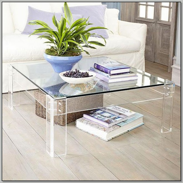 Square Clear Acrylic Coffee Table