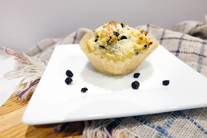 dressed up muffin on a plate
