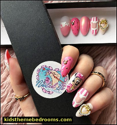 NAILED IT! Hand Painted False Nails - Baby Minnie    Minnie Mouse nail design ideas - Polka dot decorating - Mickey Mouse nail decals - Minnie Mouse nail art design ideas - Mickey Mouse Party decorations - party nails - cute nails - Disney themed nail art - minnie mouse nails -  Mickey Mouse nails