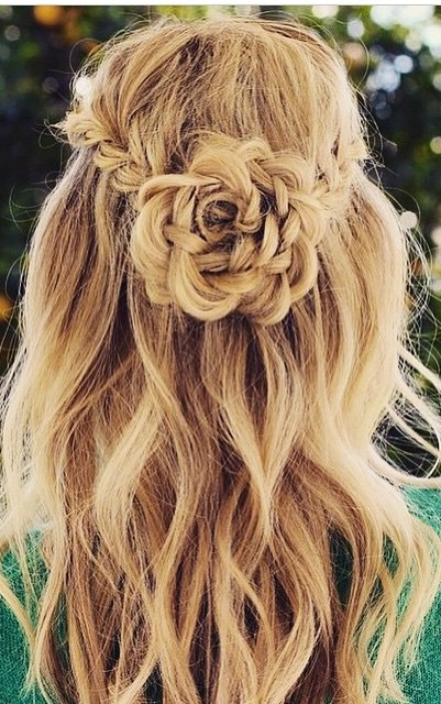 flower braid  hairstyle idea