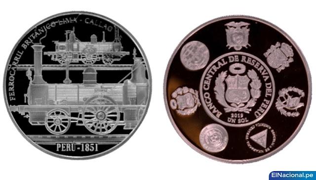 BCR moneda de 1 sol, de la serie iberoamericana Ferrocarriles Históricos