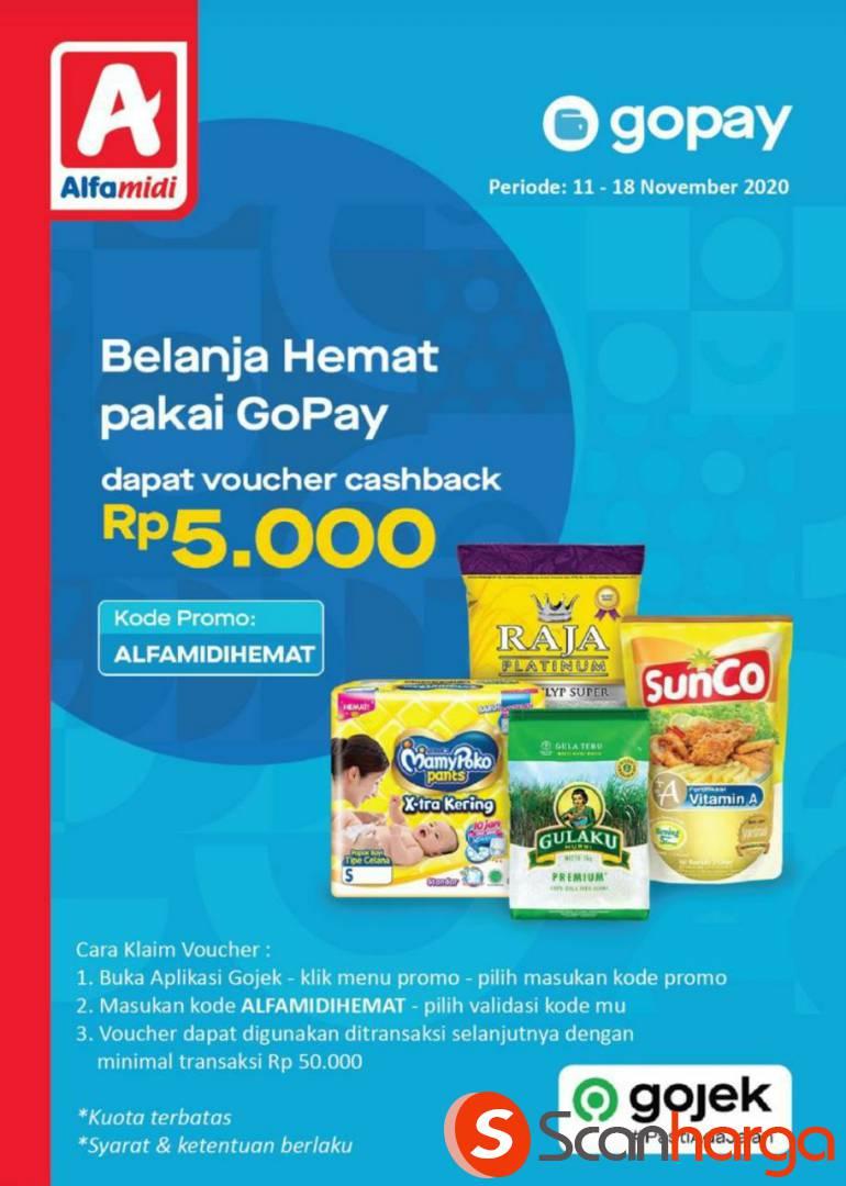Alfamidi Promo Gopay 11.11 - Dapatkan Voucher Cashback senilai Rp 5.000