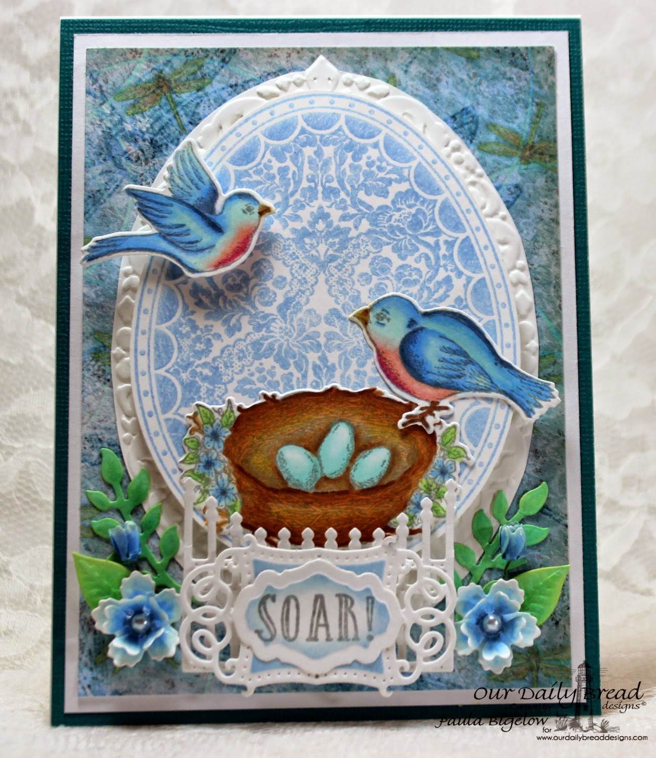 Our Daily Bread Designs, Spread Your Wings, Floral Egg, Birds and Nest Die, Vintage Flourish Pattern Die, Gilded Gate Die, Antique Labels & Border Die, Blooming Garden Collection Paper, Designed by Paula Bigelow