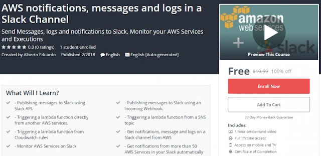 [100% Off] AWS notifications, messages and logs in a Slack Channel| Worth 19,99$