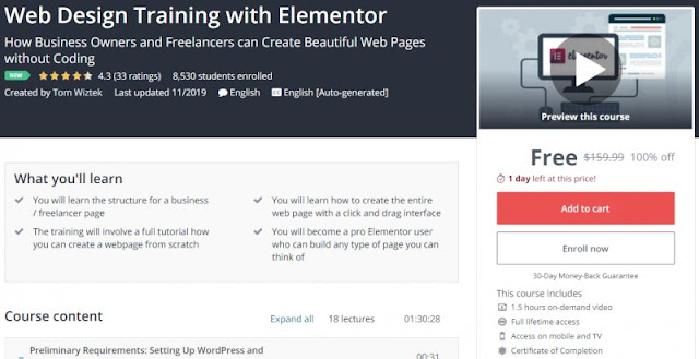 [100% Off] Web Design Training with Elementor| Worth 159,99$
