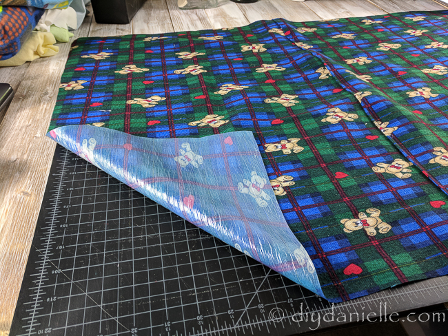 PUL fabric cut out for the bottom of the guinea pig's cage liners.