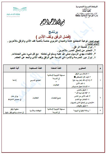 وحدة التوجيه والإرشاد وسط برنامج رفق ادارة تعليم الرياض