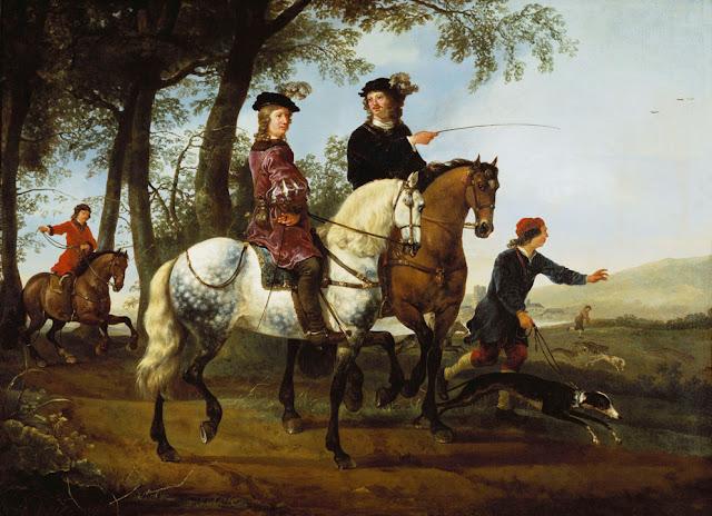 Альберт Кёйп - Пейзаж с всадниками на охоте. 1650-55