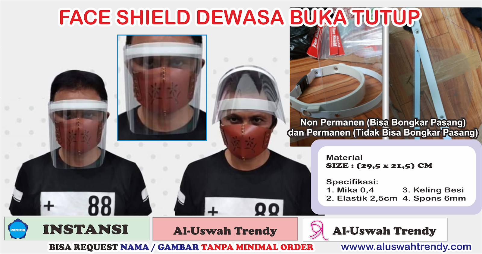 Face Shield Dewasa Buka Tutup