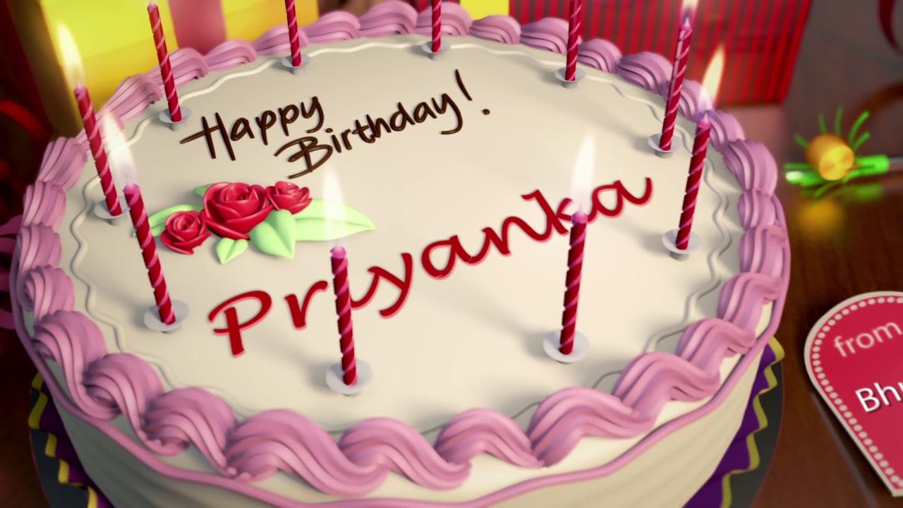 Happy Birthday Priyanka Gif Cake Songs Wishes Status
