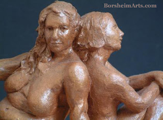 Waiting and Wondering Detail Terra-cotta Sculpture Two Women