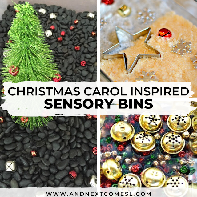 Christmas sensory bin ideas for toddlers and preschoolers based on Christmas carols