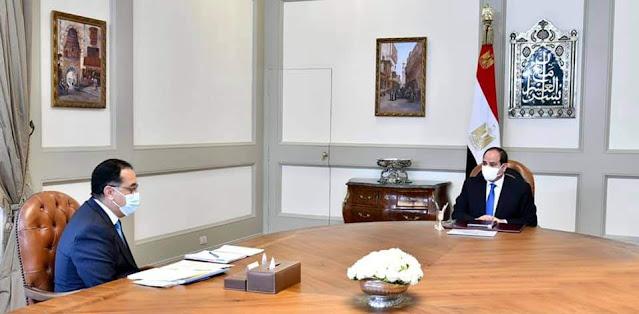 الرئيس السيسي يطلع علي نتائج الزيارة الأخيرة التي قام بها السيد رئيس مجلس الوزراء إلى ليبيا على رأس وفد وزاري رفيع المستوى
