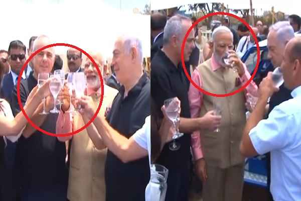 pm-modi-drink-water-saying-cheers-in-israel-water-treatment-plant