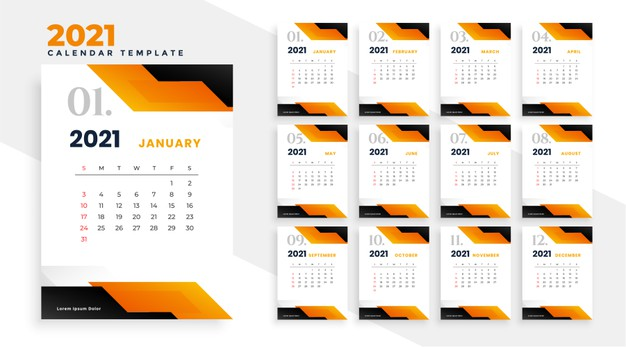 Calendario geométrico naranja 2021