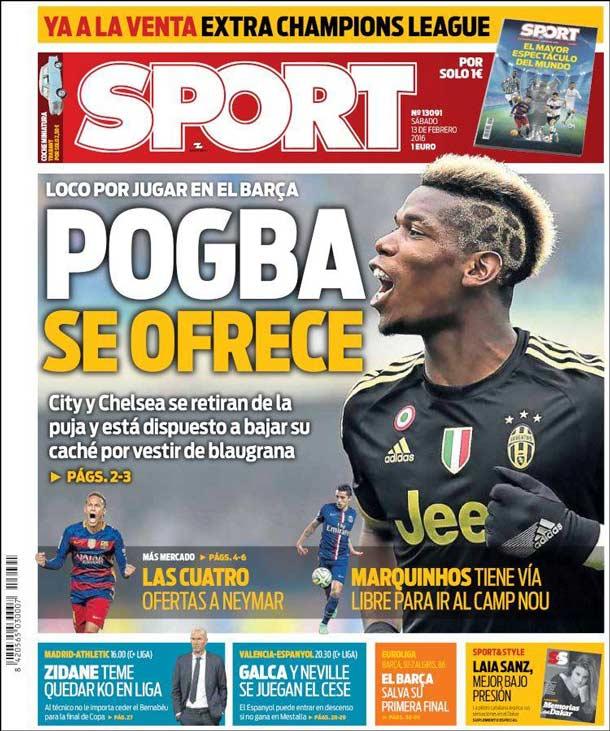 Portada del periódico Sport, sábado 13 de febrero de 2106