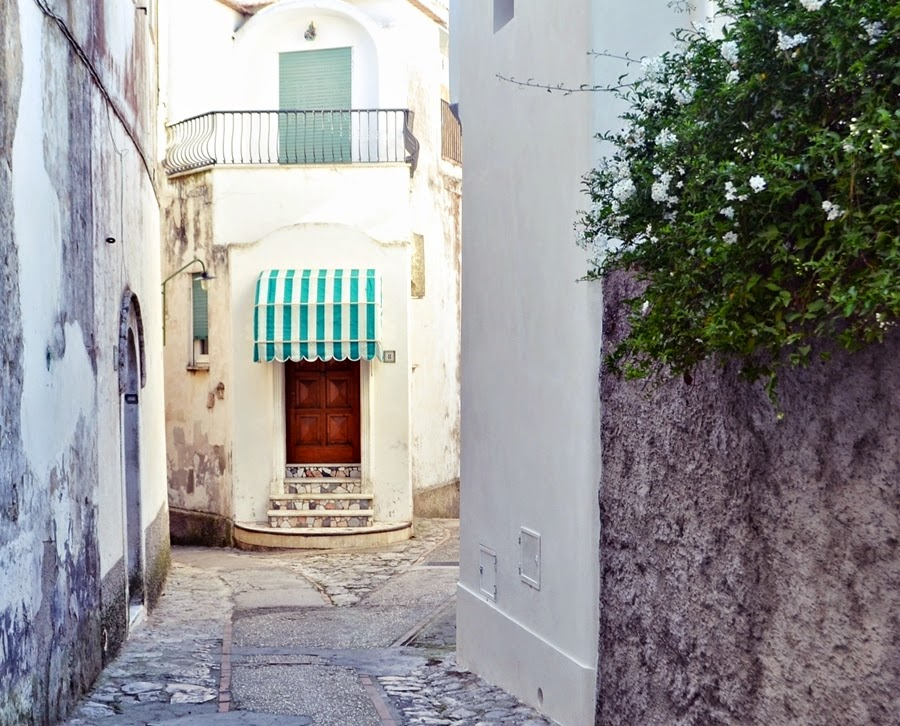 White streets of Capri in italy